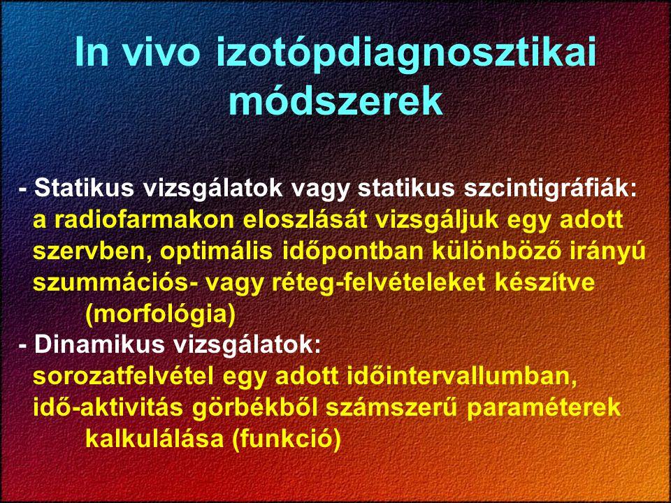 In vivo izotópdiagnosztikai módszerek - Statikus vizsgálatok vagy statikus szcintigráfiák: a radiofarmakon eloszlását vizsgáljuk egy adott szervben, o