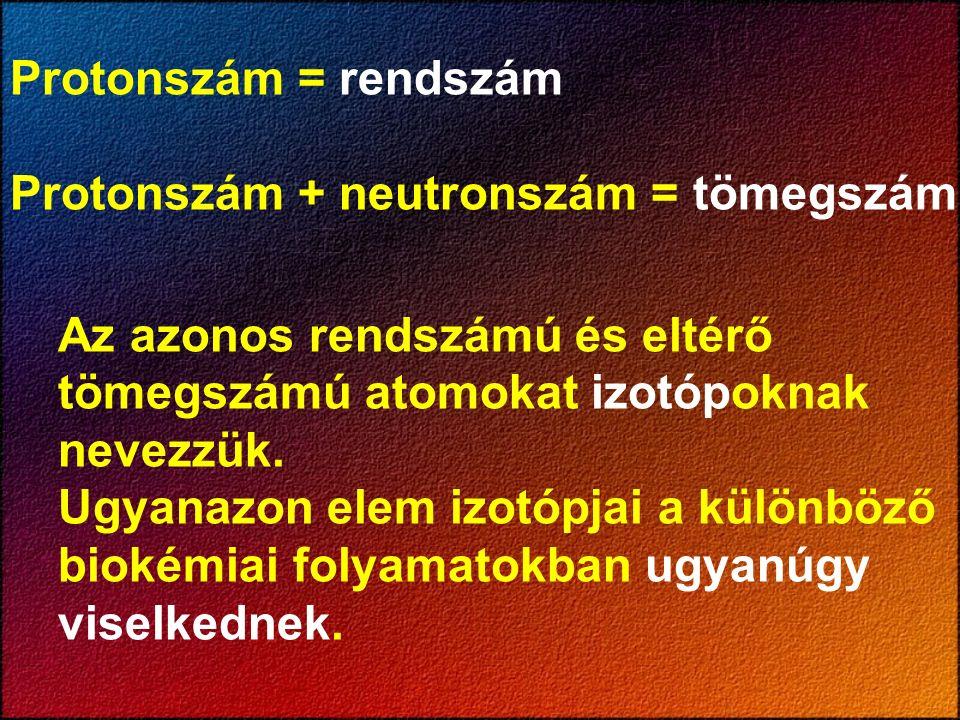 Protonszám = rendszám Protonszám + neutronszám = tömegszám Az azonos rendszámú és eltérő tömegszámú atomokat izotópoknak nevezzük. Ugyanazon elem izot
