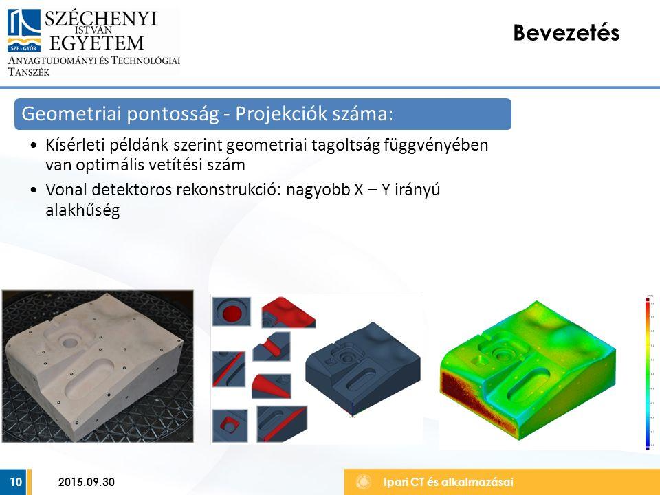 10 Bevezetés Ipari CT és alkalmazásai Geometriai pontosság - Projekciók száma: Kísérleti példánk szerint geometriai tagoltság függvényében van optimális vetítési szám Vonal detektoros rekonstrukció: nagyobb X – Y irányú alakhűség 2015.09.30