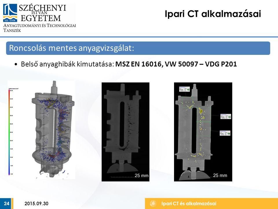 24 Ipari CT alkalmazásai Ipari CT és alkalmazásai Roncsolás mentes anyagvizsgálat: Belső anyaghibák kimutatása: MSZ EN 16016, VW 50097 – VDG P201 2015.09.30