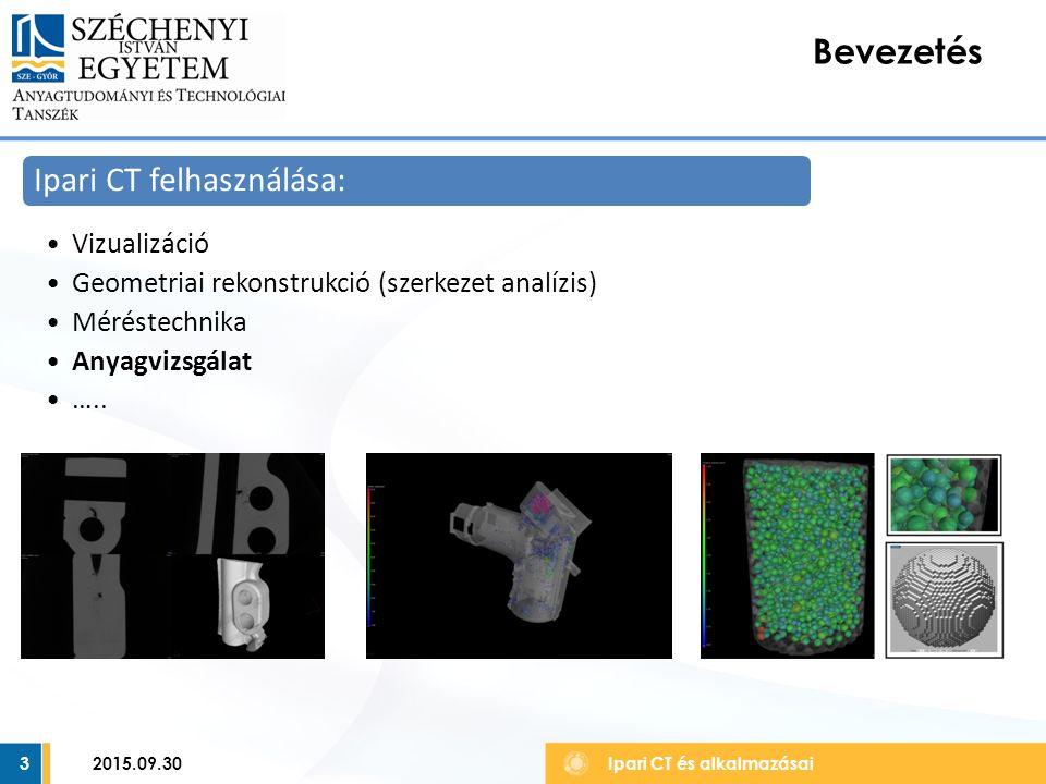 3 Bevezetés Ipari CT és alkalmazásai Ipari CT felhasználása: Vizualizáció Geometriai rekonstrukció (szerkezet analízis) Méréstechnika Anyagvizsgálat …..