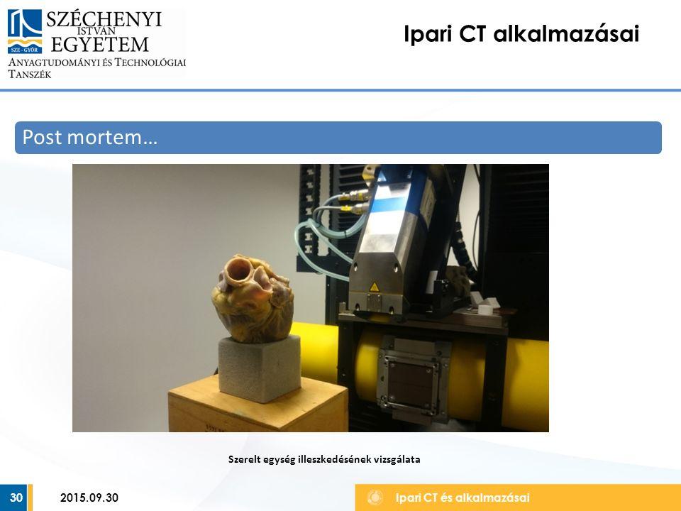 30 Ipari CT alkalmazásai Ipari CT és alkalmazásai Post mortem… Szerelt egység illeszkedésének vizsgálata 2015.09.30