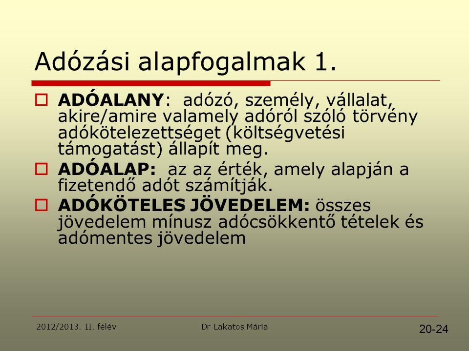 Dr Lakatos Mária2012/2013. II. félév Adózási alapfogalmak 1.