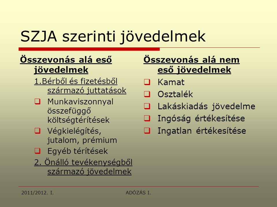 2011/2012. I.ADÓZÁS I.