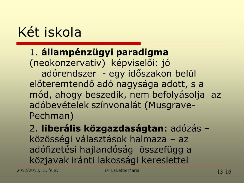 Dr Lakatos Mária 2012/2013. II. félév Két iskola 1.