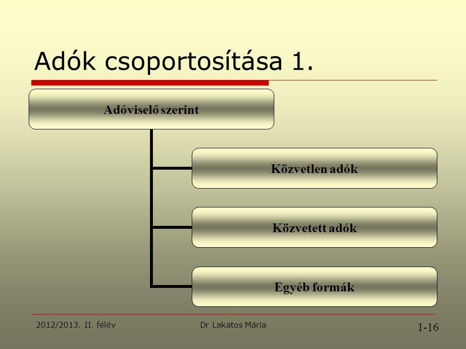 Dr Lakatos Mária2012/2013. II. félév Adók csoportosítása 1.