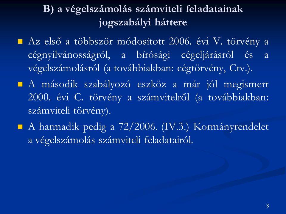 B) a végelszámolás számviteli feladatainak jogszabályi háttere Az első a többször módosított 2006.
