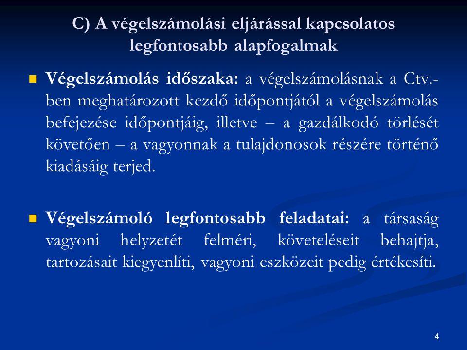 C) A végelszámolási eljárással kapcsolatos legfontosabb alapfogalmak Végelszámolás időszaka: a végelszámolásnak a Ctv.- ben meghatározott kezdő időpon