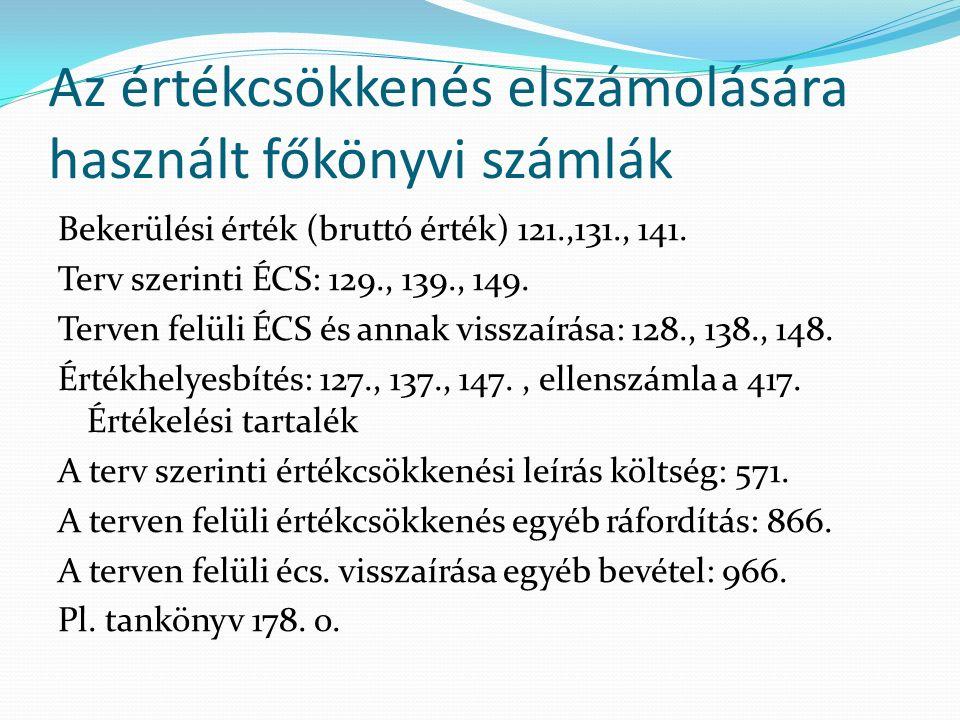 Az értékcsökkenés elszámolására használt főkönyvi számlák Bekerülési érték (bruttó érték) 121.,131., 141. Terv szerinti ÉCS: 129., 139., 149. Terven f