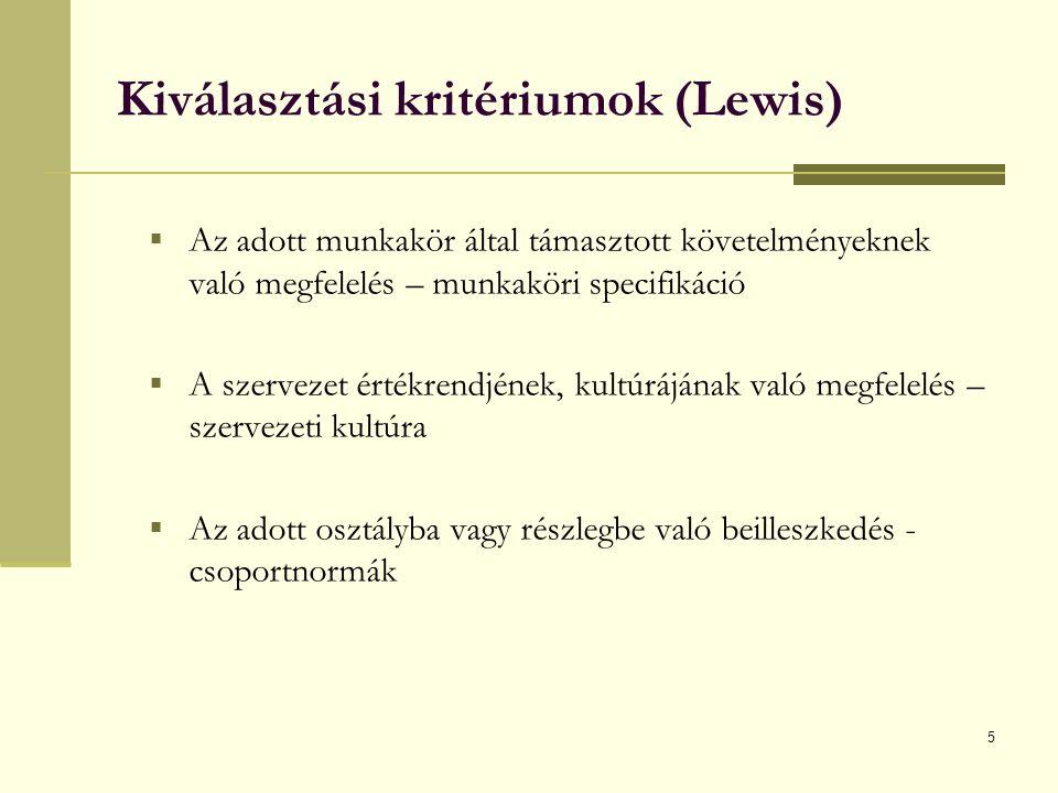 5 Kiválasztási kritériumok (Lewis)  Az adott munkakör által támasztott követelményeknek való megfelelés – munkaköri specifikáció  A szervezet értékrendjének, kultúrájának való megfelelés – szervezeti kultúra  Az adott osztályba vagy részlegbe való beilleszkedés - csoportnormák