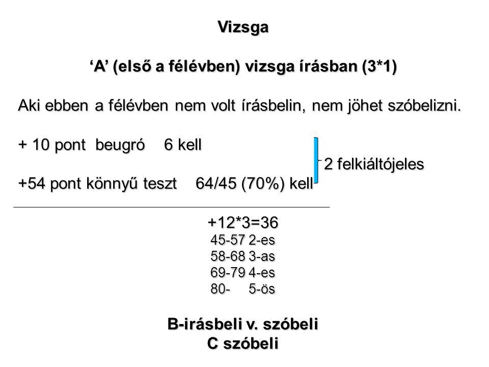 Vizsga 'A' (első a félévben) vizsga írásban (3*1) Aki ebben a félévben nem volt írásbelin, nem jöhet szóbelizni.