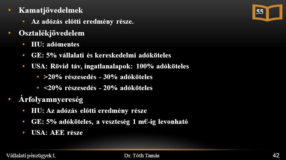 Dr. Tóth Tamás Vállalati pénzügyek I. 42 Kamatjövedelmek Az adózás előtti eredmény része.
