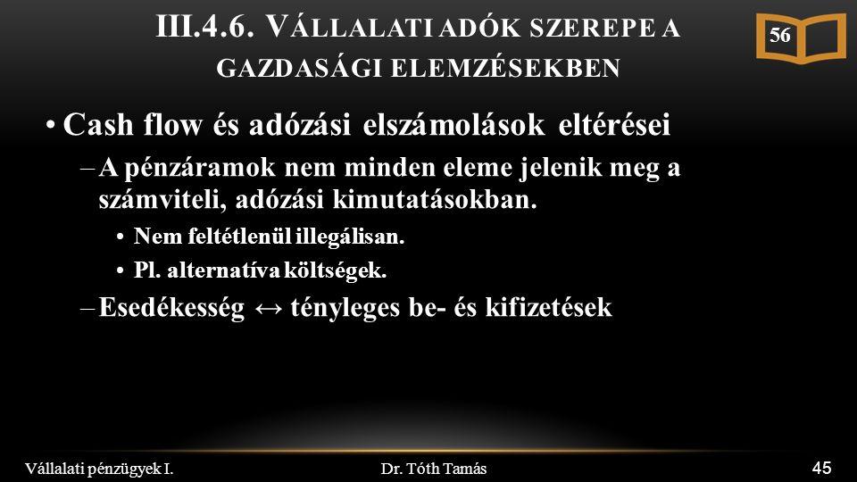 Dr. Tóth Tamás Vállalati pénzügyek I. 45 III.4.6.