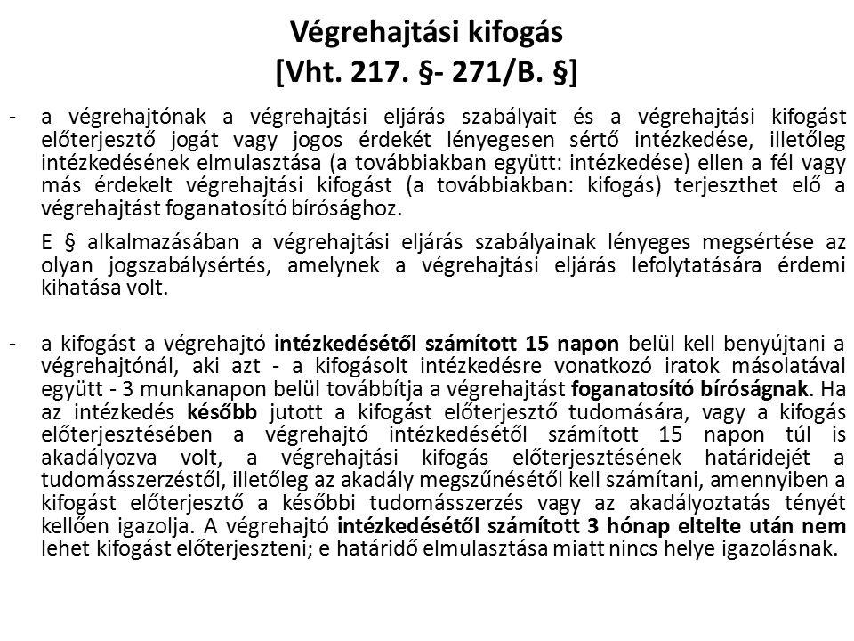 Végrehajtási kifogás [Vht. 217. §- 271/B.