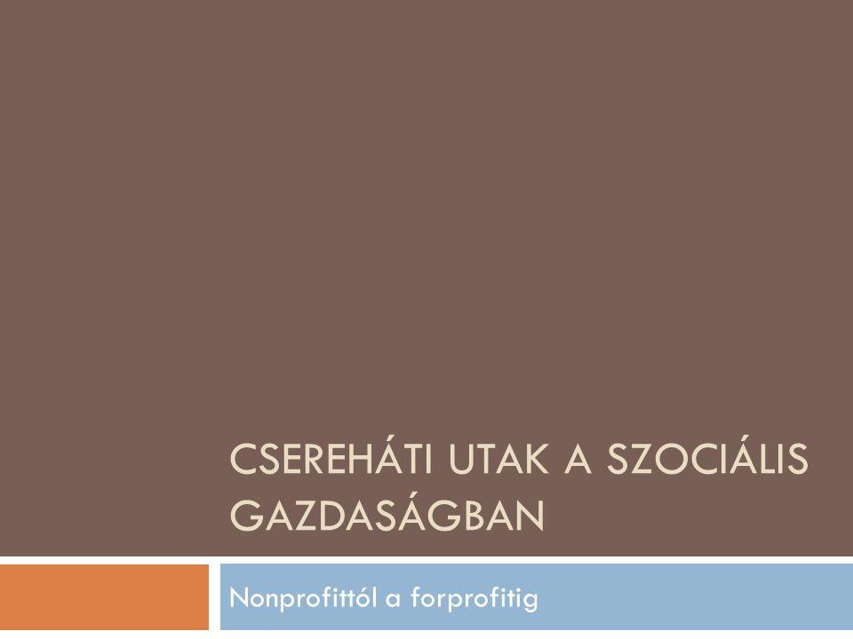 CSEREHÁTI UTAK A SZOCIÁLIS GAZDASÁGBAN Nonprofittól a forprofitig