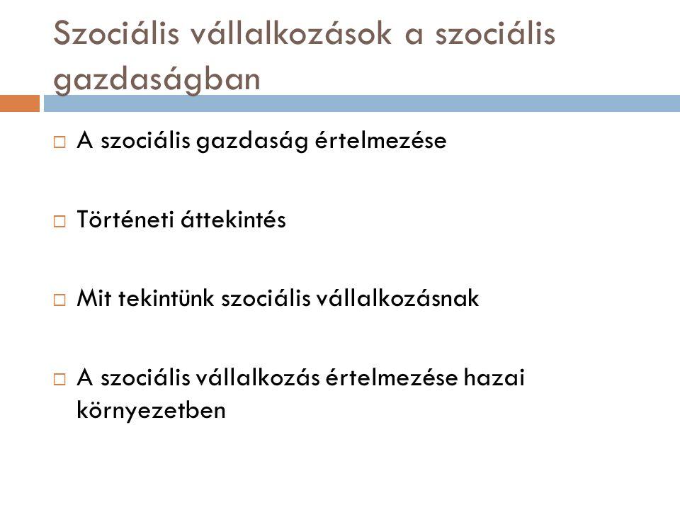 Szociális vállalkozások a szociális gazdaságban  A szociális gazdaság értelmezése  Történeti áttekintés  Mit tekintünk szociális vállalkozásnak  A szociális vállalkozás értelmezése hazai környezetben