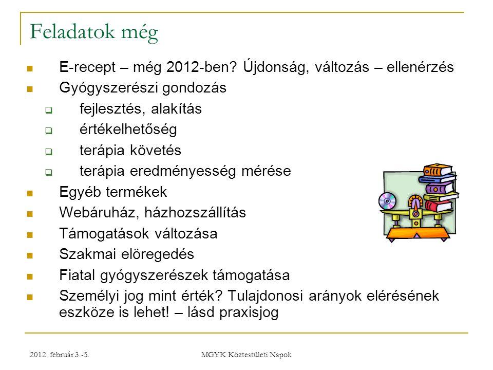 2012. február 3.-5. MGYK Köztestületi Napok Feladatok még E-recept – még 2012-ben.