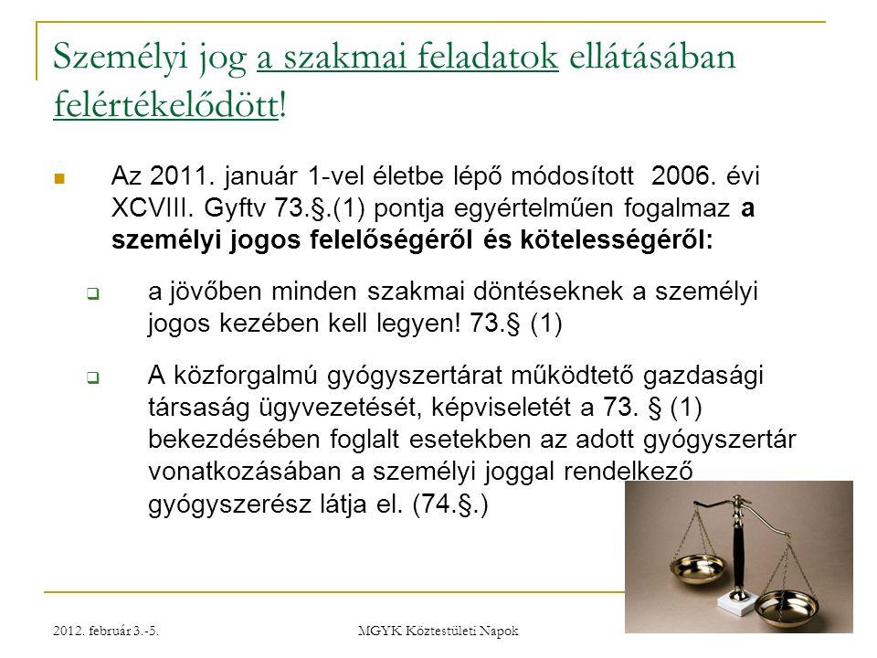 2012.február 3.-5. MGYK Köztestületi Napok Feladatok még E-recept – még 2012-ben.