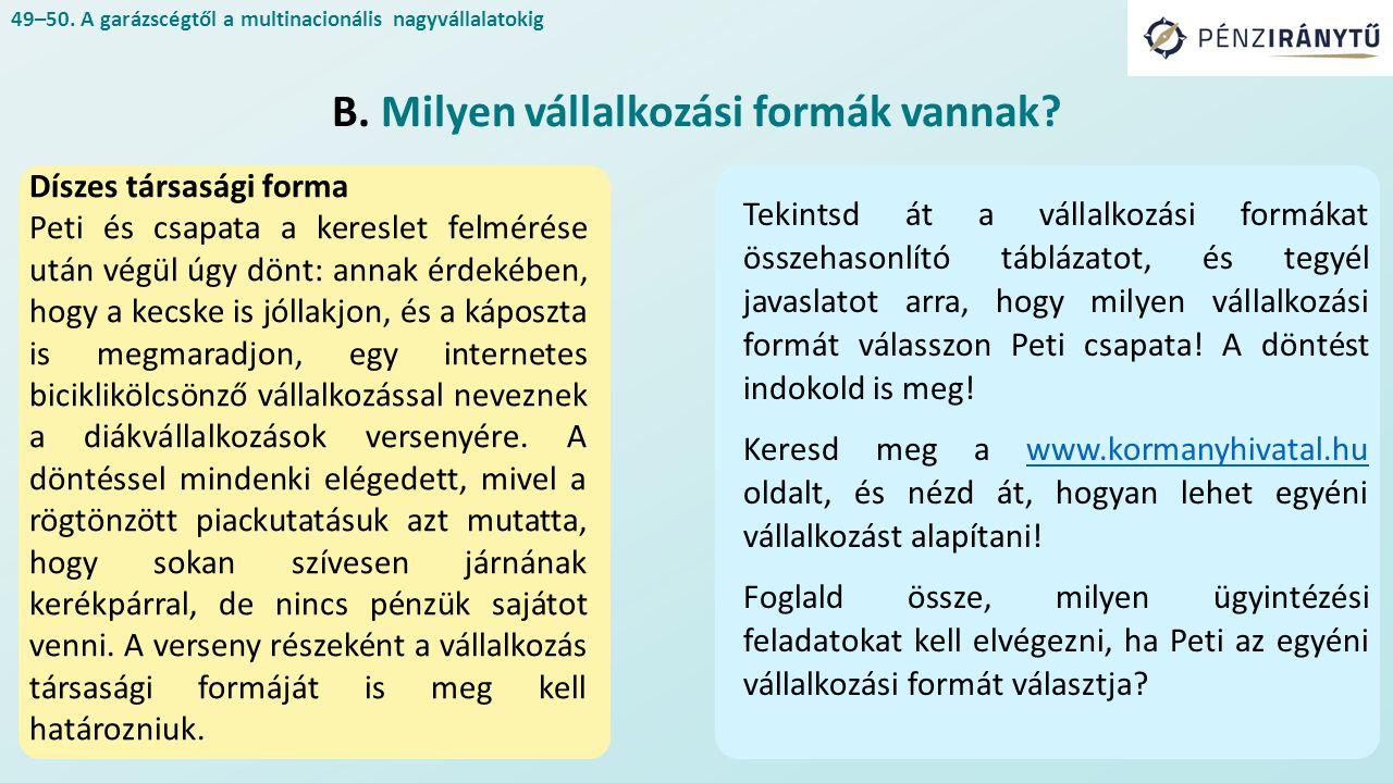 A jog asztalánál Mérlegelve a vállalkozási formák előnyeit és hátrányait, Molnár Peti és csapata a betéti társaság alapítása mellett dönt.