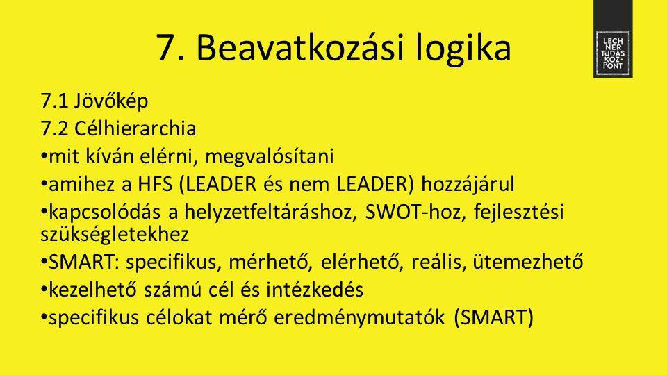 7.1 Jövőkép 7.2 Célhierarchia mit kíván elérni, megvalósítani amihez a HFS (LEADER és nem LEADER) hozzájárul kapcsolódás a helyzetfeltáráshoz, SWOT-ho