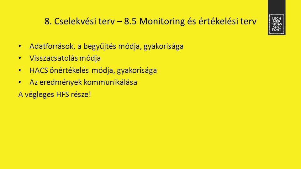 8. Cselekvési terv – 8.5 Monitoring és értékelési terv Adatforrások, a begyűjtés módja, gyakorisága Visszacsatolás módja HACS önértékelés módja, gyako
