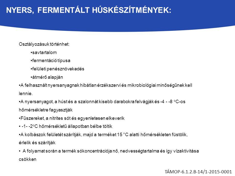 NYERS, FERMENTÁLT HÚSKÉSZÍTMÉNYEK: TÁMOP-6.1.2.B-14/1-2015-0001 Osztályozásuk történhet: savtartalom fermentáció típusa felületi penésznövekedés átmérő alapján A felhasznált nyersanyagnak hibátlan érzékszervi és mikrobiológiai minőségűnek kell lennie.