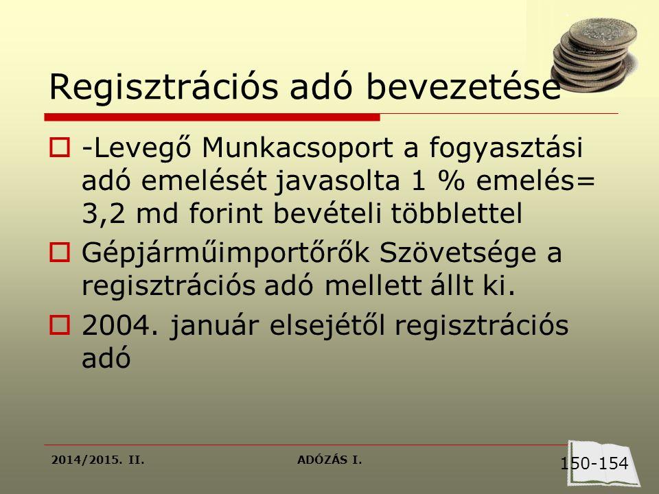 2014/2015. II.ADÓZÁS I. Regisztrációs adó bevezetése  -Levegő Munkacsoport a fogyasztási adó emelését javasolta 1 % emelés= 3,2 md forint bevételi tö
