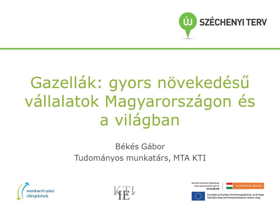Gazellák: gyors növekedésű vállalatok Magyarországon és a világban Békés Gábor Tudományos munkatárs, MTA KTI