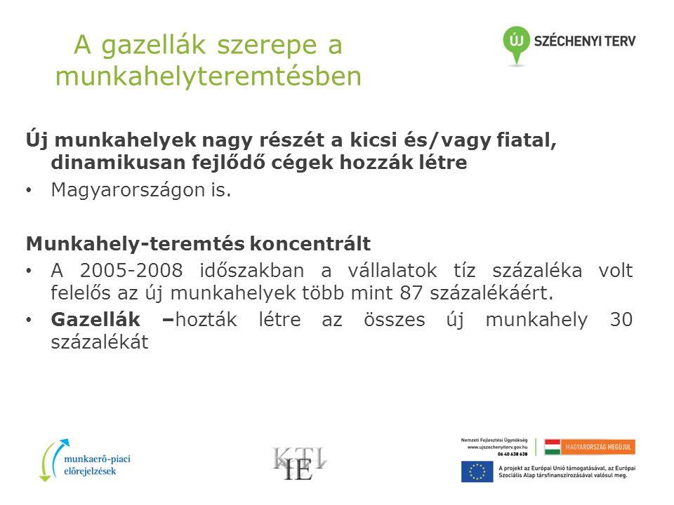 A gazellák szerepe a munkahelyteremtésben Új munkahelyek nagy részét a kicsi és/vagy fiatal, dinamikusan fejlődő cégek hozzák létre Magyarországon is.