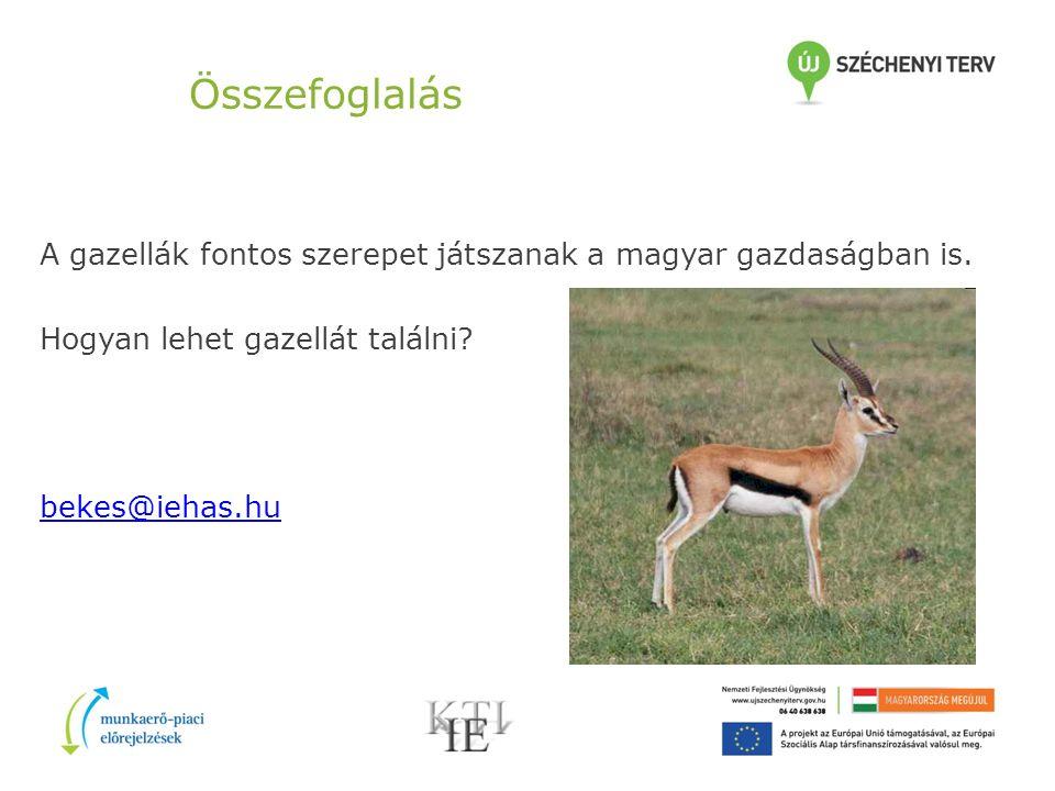 Összefoglalás A gazellák fontos szerepet játszanak a magyar gazdaságban is.