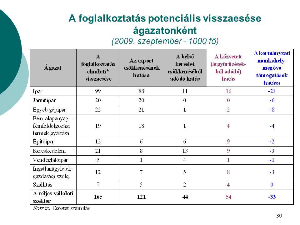 A foglalkoztatás potenciális visszaesése ágazatonként (2009. szeptember - 1000 fő) 30