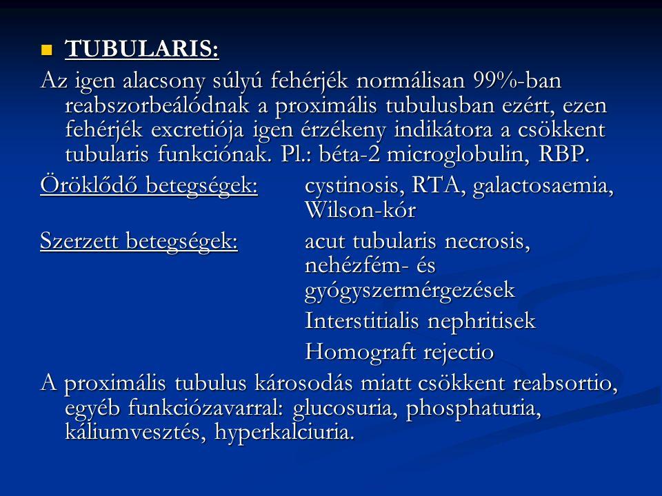 TUBULARIS: TUBULARIS: Az igen alacsony súlyú fehérjék normálisan 99%-ban reabszorbeálódnak a proximális tubulusban ezért, ezen fehérjék excretiója igen érzékeny indikátora a csökkent tubularis funkciónak.