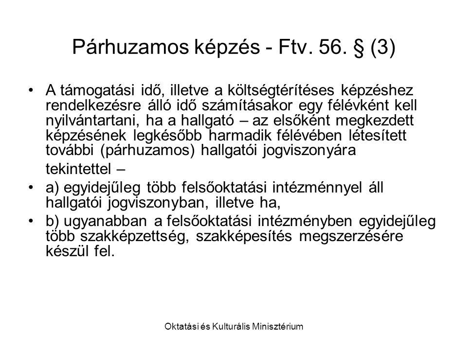 Oktatási és Kulturális Minisztérium Párhuzamos képzés - Ftv.