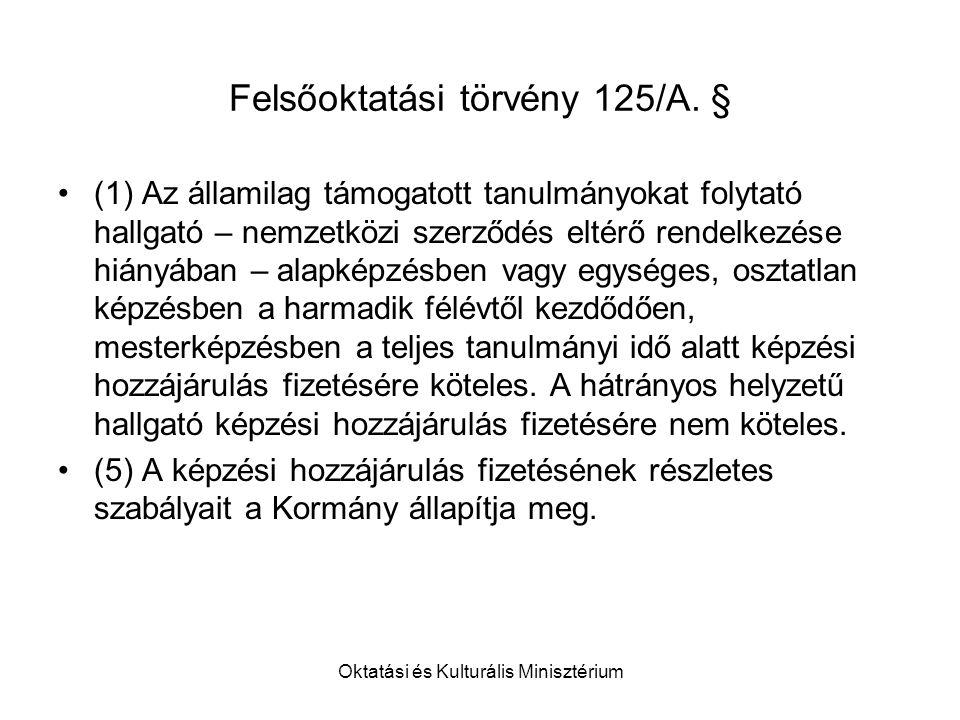 Oktatási és Kulturális Minisztérium Felsőoktatási törvény 125/A.