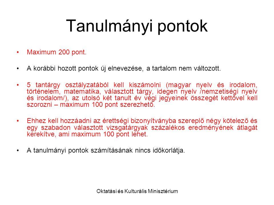 Oktatási és Kulturális Minisztérium Tanulmányi pontok Maximum 200 pont.