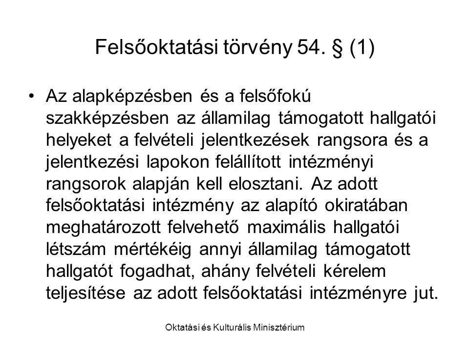 Oktatási és Kulturális Minisztérium Felsőoktatási törvény 54.