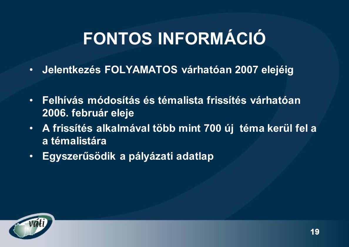 19 FONTOS INFORMÁCIÓ Jelentkezés FOLYAMATOS várhatóan 2007 elejéig Felhívás módosítás és témalista frissítés várhatóan 2006.