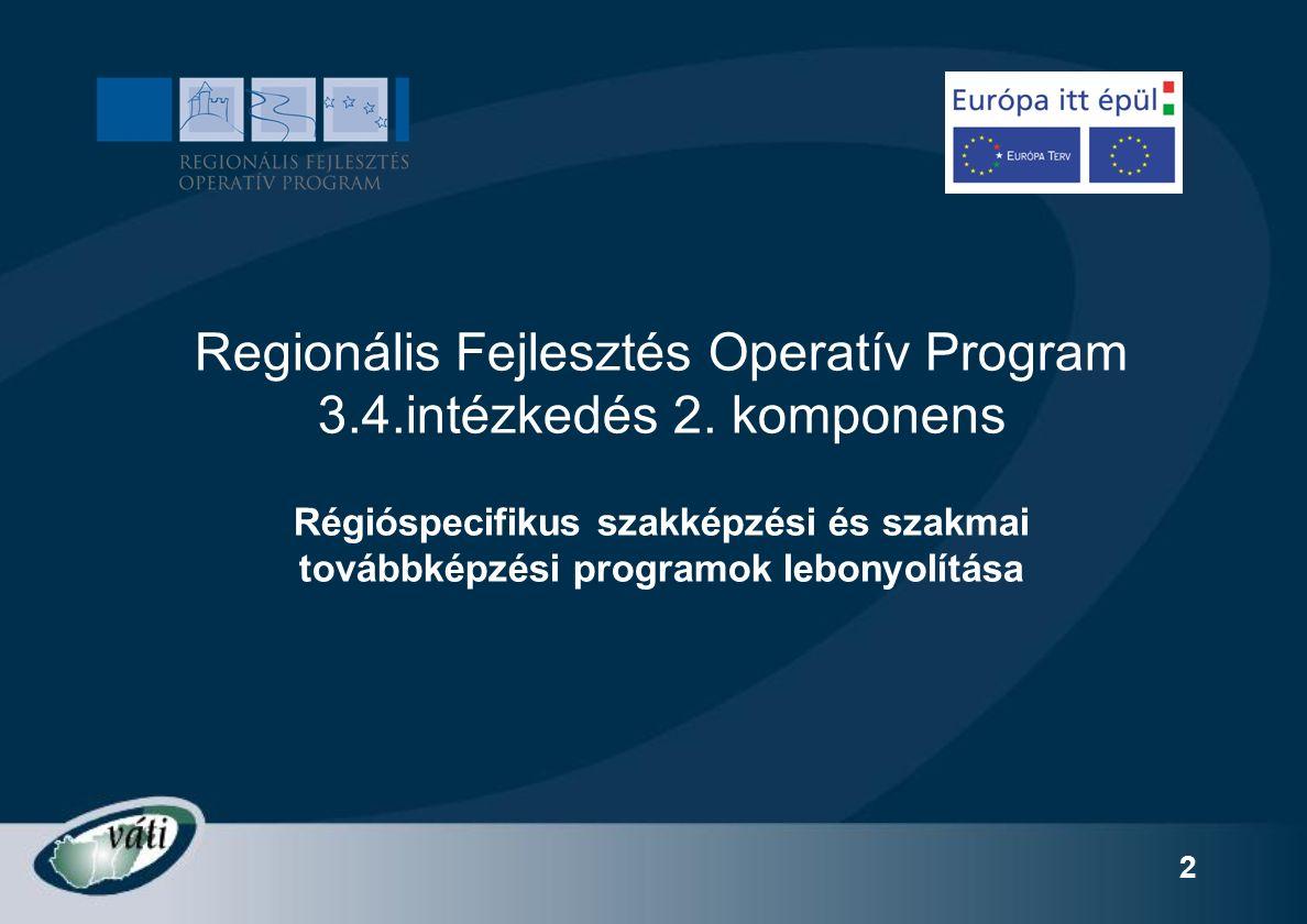 53 TÁMOGATÁS ELSZÁMOLÁSA Alkalmazott & önfoglalkoztató : Önrészt (20 %) előre fizeti a jelentkező a képzőintézménynek Támogatást (80%) a VÁTI Kht.