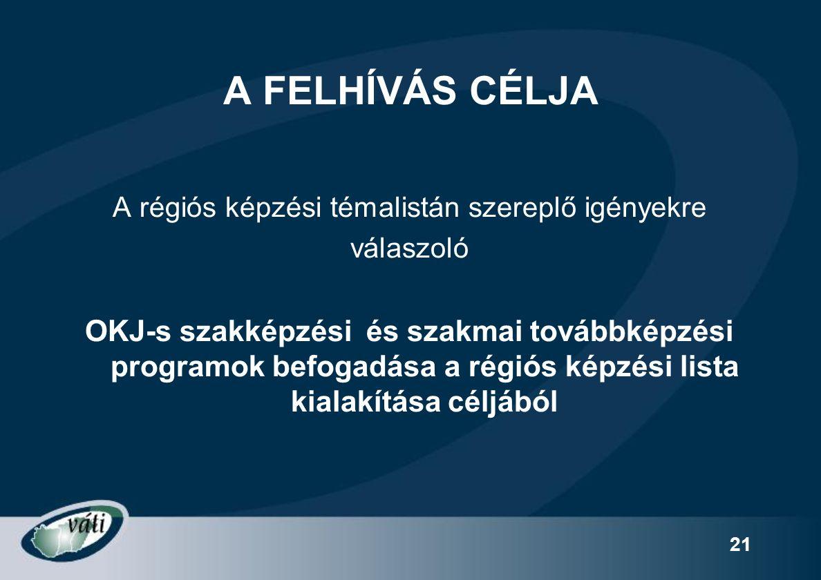21 A FELHÍVÁS CÉLJA A régiós képzési témalistán szereplő igényekre válaszoló OKJ-s szakképzési és szakmai továbbképzési programok befogadása a régiós képzési lista kialakítása céljából