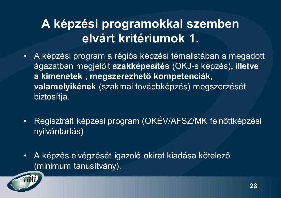 23 A képzési programokkal szemben elvárt kritériumok 1.