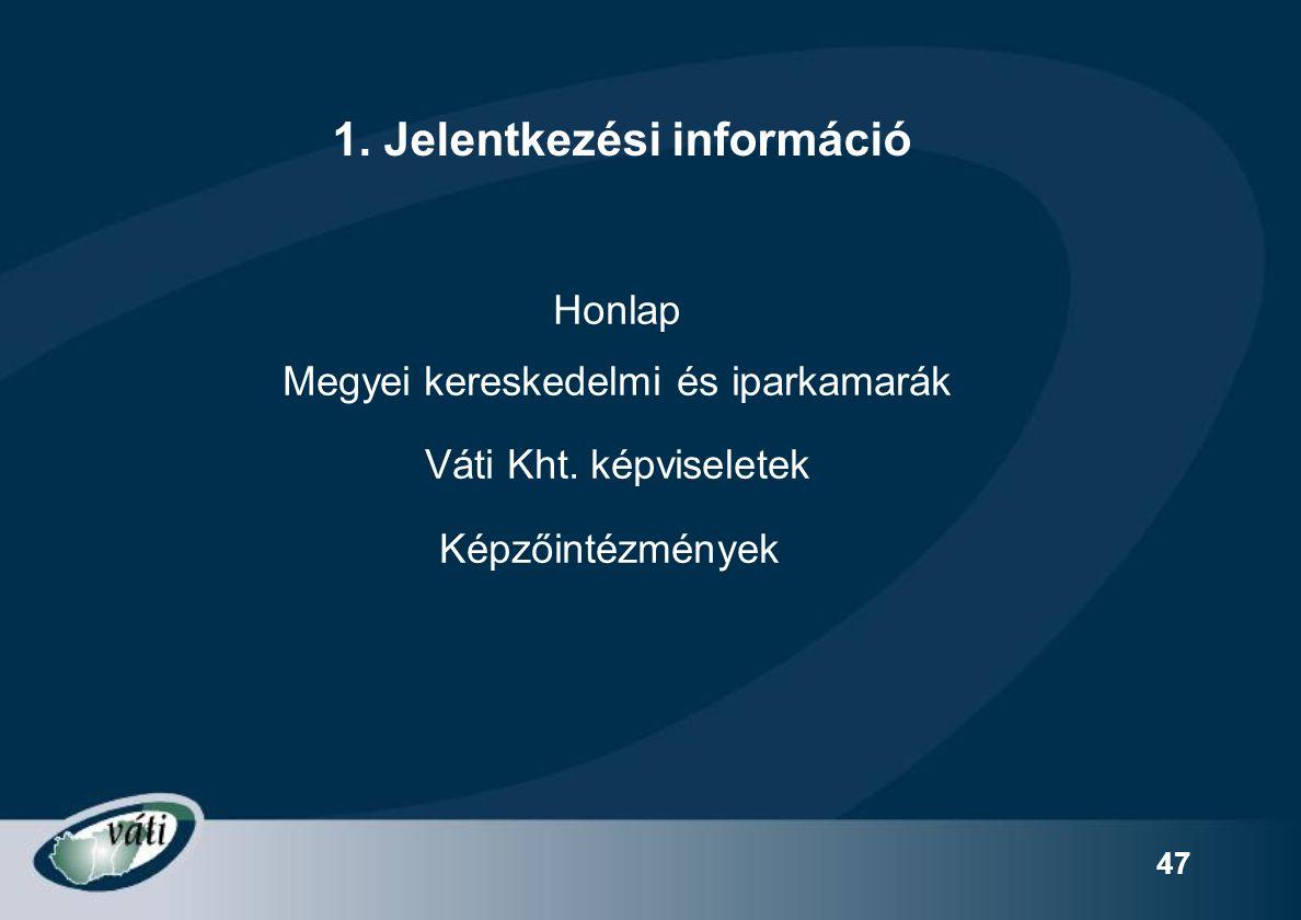 47 Honlap Megyei kereskedelmi és iparkamarák Váti Kht.