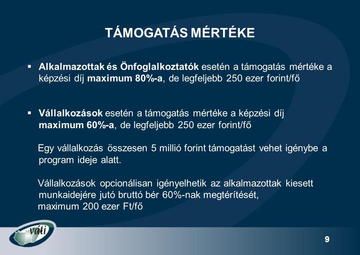 30 KIZÁRÓ FELTÉTELEK Nem fogadható be olyan program: Speciális képzések ( pl.