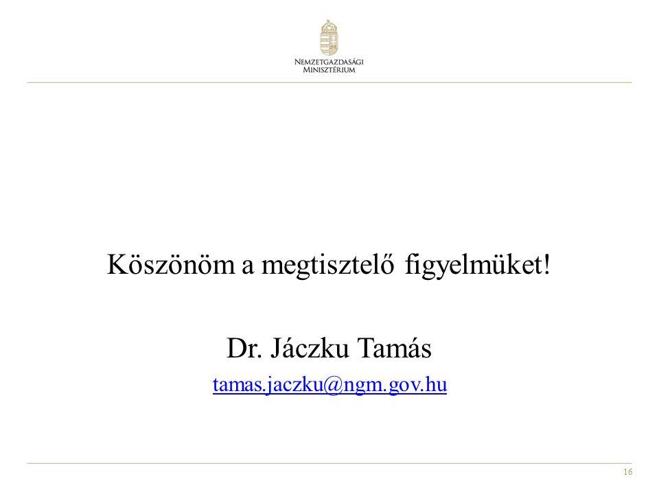 16 Köszönöm a megtisztelő figyelmüket! Dr. Jáczku Tamás tamas.jaczku@ngm.gov.hu