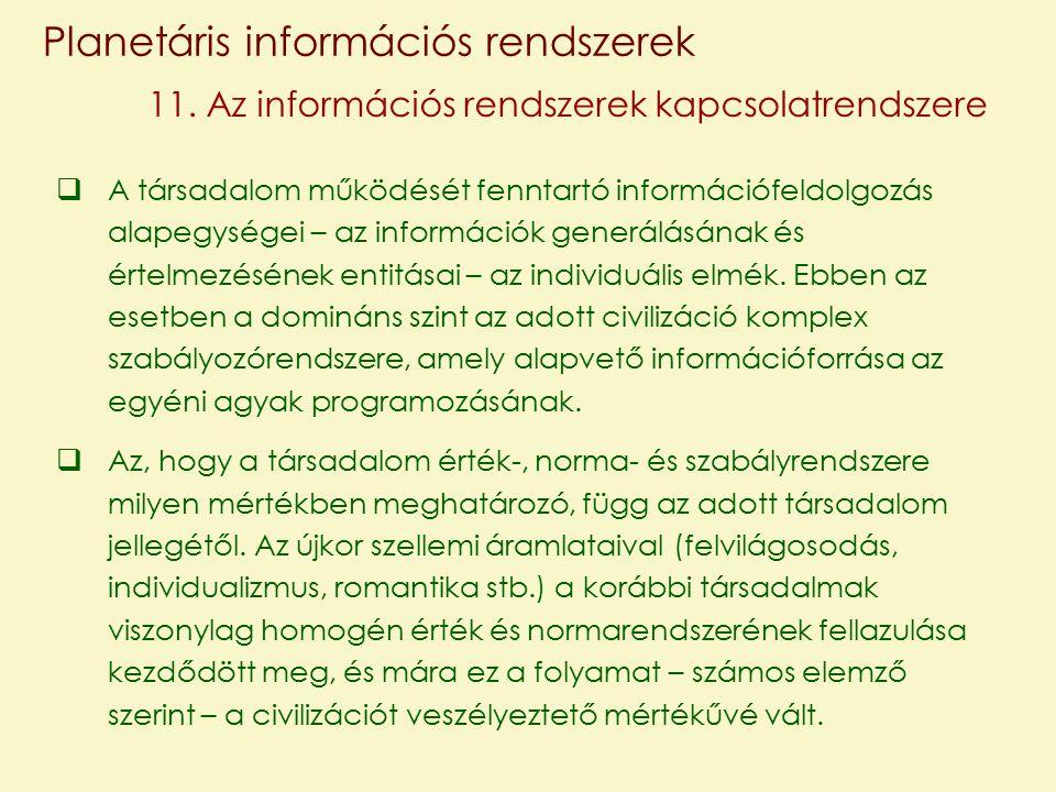 Planetáris információs rendszerek 11.