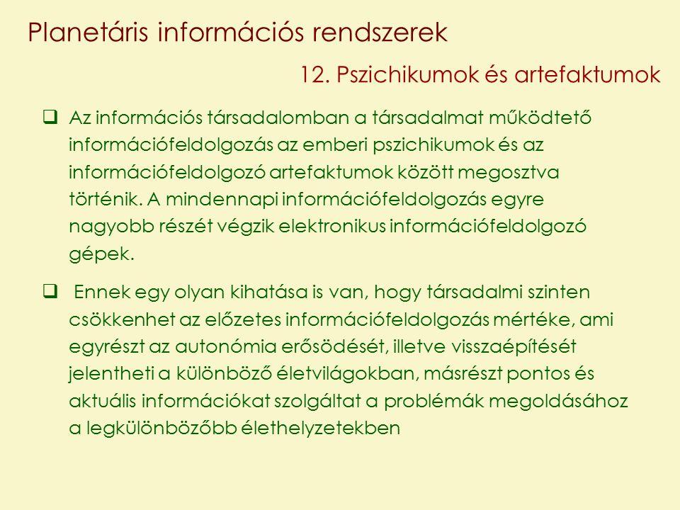 Planetáris információs rendszerek 12.