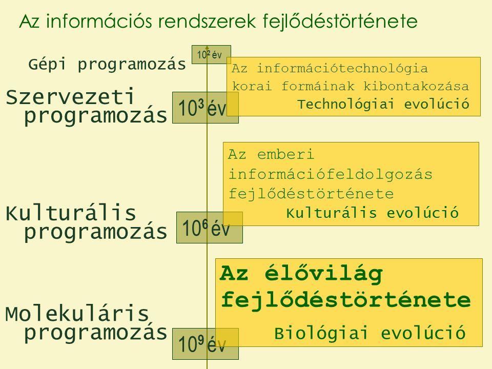 Molekuláris programozás Kulturális programozás Szervezeti programozás Gépi programozás 10 9 év 10 6 év 10 3 év 10 2 év Az emberi információfeldolgozás fejlődéstörténete Kulturális evolúció Az információtechnológia korai formáinak kibontakozása Technológiai evolúció Az élővilág fejlődéstörténete Biológiai evolúció Az információs rendszerek fejlődéstörténete