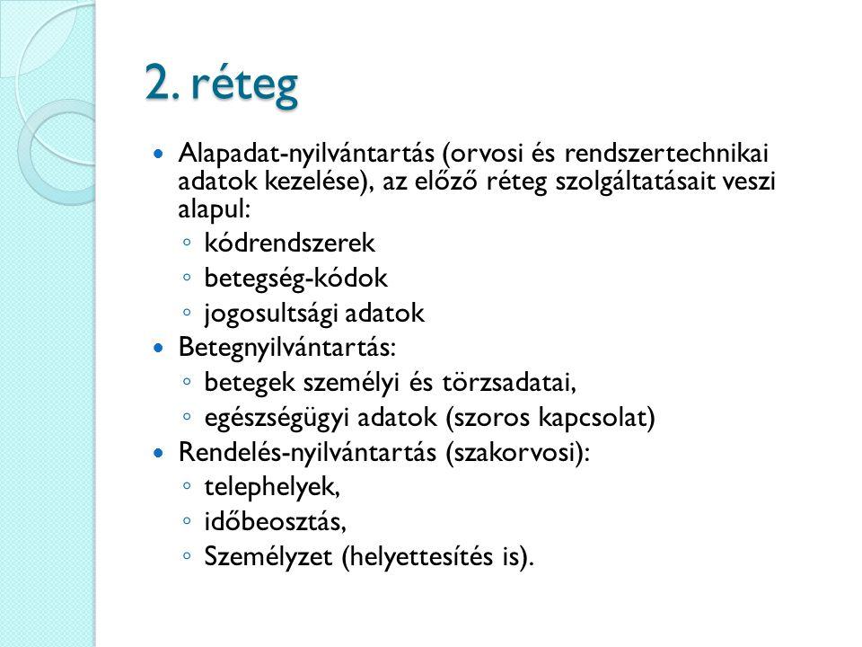 2. réteg Alapadat-nyilvántartás (orvosi és rendszertechnikai adatok kezelése), az előző réteg szolgáltatásait veszi alapul: ◦ kódrendszerek ◦ betegség