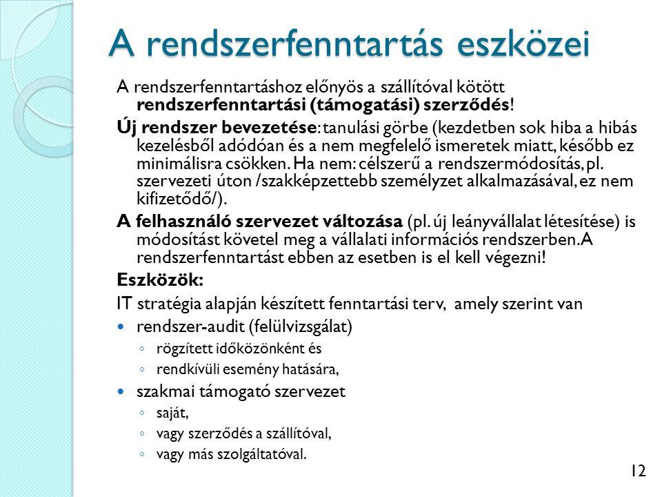 12 A rendszerfenntartás eszközei A rendszerfenntartáshoz előnyös a szállítóval kötött rendszerfenntartási (támogatási) szerződés.
