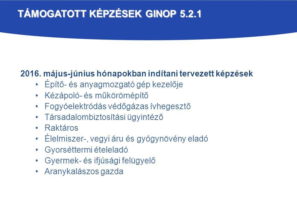 TÁMOGATOTT KÉPZÉSEK GINOP 5.2.1 2016.