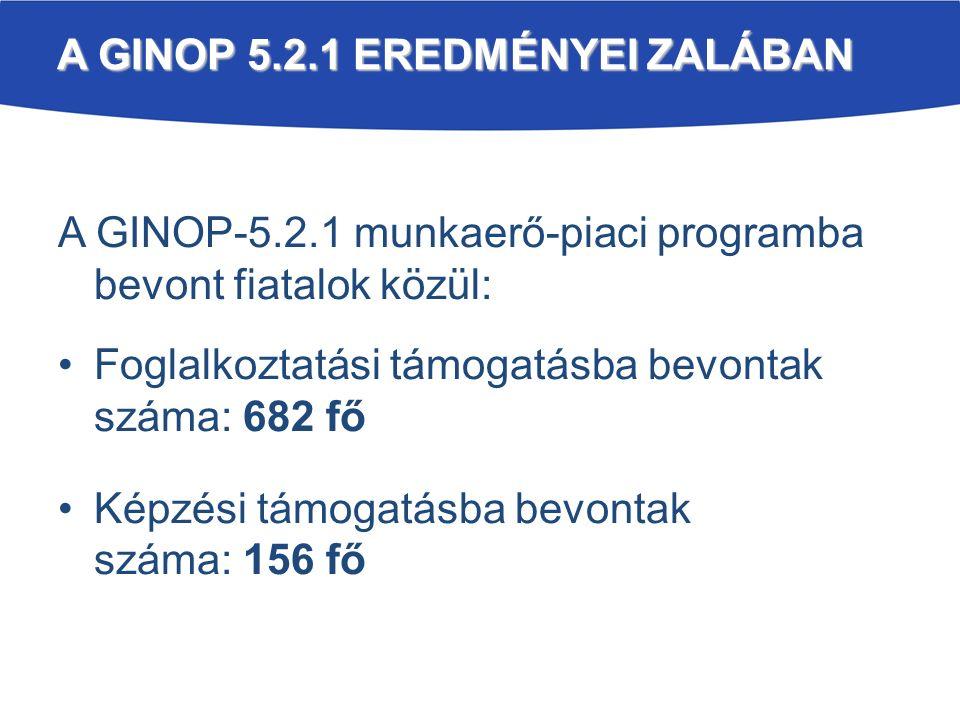 A GINOP 5.2.1 EREDMÉNYEI ZALÁBAN A GINOP-5.2.1 munkaerő-piaci programba bevont fiatalok közül: Foglalkoztatási támogatásba bevontak száma: 682 fő Képzési támogatásba bevontak száma: 156 fő